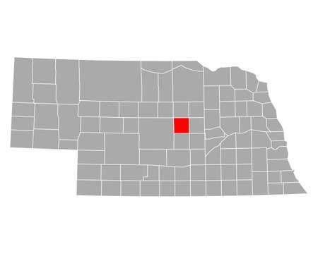 Map of Valley in Nebraska illustration. Illustration