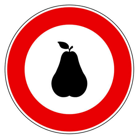 Pear and prohibition sign