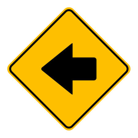 Left arrow and road sign