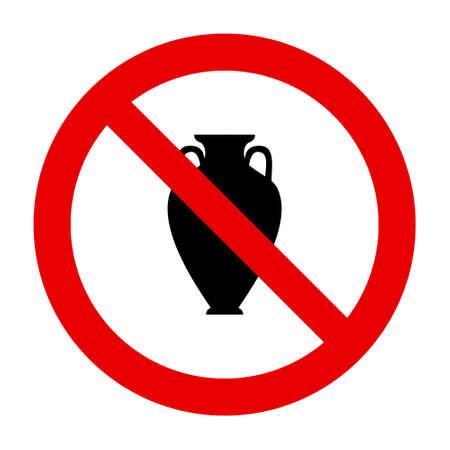 Amphora and prohibition sign 矢量图像