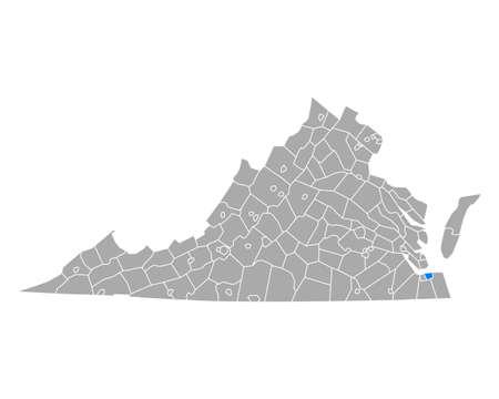 Map of Norfolk in Virginia