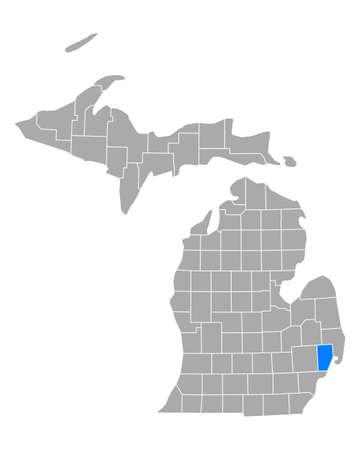 Map of Macomb in Michigan
