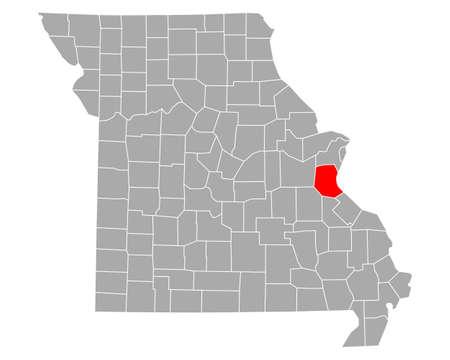 Map of Jefferson in Missouri