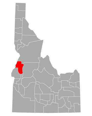 Map of Adams in Idaho