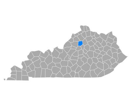 Map of Franklin in Kentucky