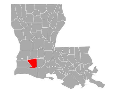 Map of Jefferson Davis in Louisiana