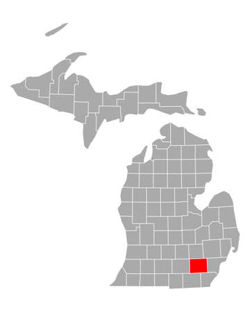 Map of Washtenaw in Michigan