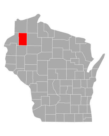 Map of Washburn in Wisconsin