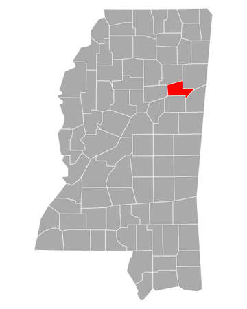 Map of Clay in Mississippi