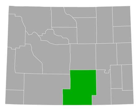 Map of Carbon in Wyoming Illusztráció
