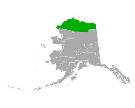 Map of North Slope in Alaska Иллюстрация
