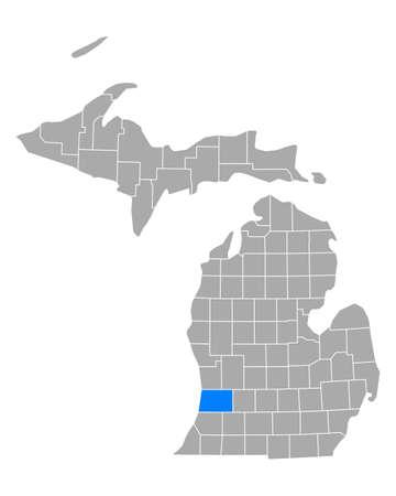 Map of Allegan in Michigan