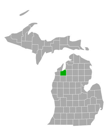 Map of Grand Treverse in Michigan