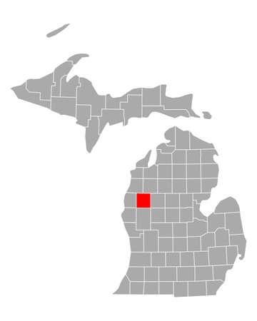 Map of Lake in Michigan 矢量图像
