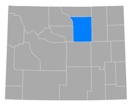 Map of Johnson in Wyoming Illusztráció