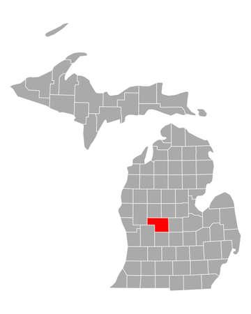 Map of Montcalm in Michigan 矢量图像