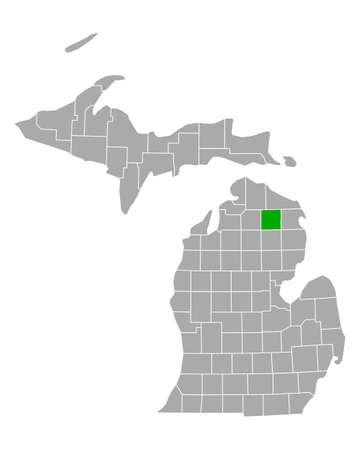 Map of Montmorency in Michigan 矢量图像