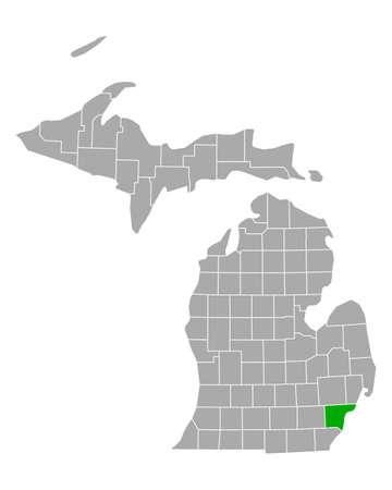 Map of Wayne in Michigan