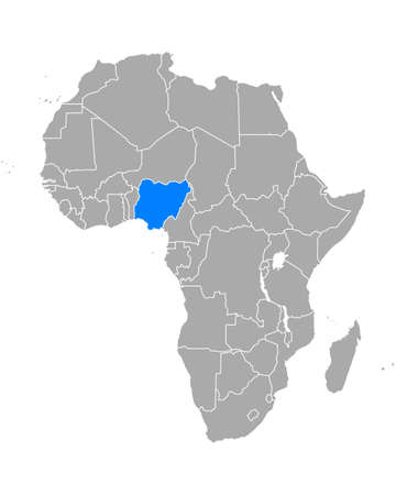 Map of Nigeria in Africa