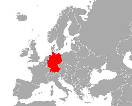 Map of Germany in Europe Vektoros illusztráció