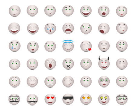 Gray emoticons of emotions. Vector illustration.