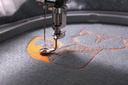 Embroidery with embroidery machine - fox theme - detail of beginning Фото со стока - 87998614