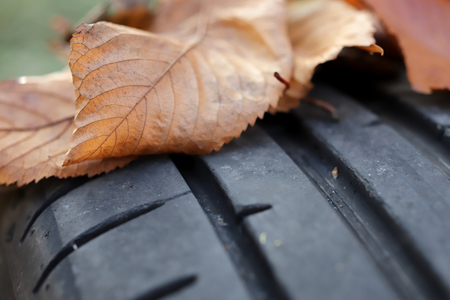 closeup view on tread of high performance car tire with autumn leaves on profile - car tuning and maintenance concept - copy space for text in blurry areas