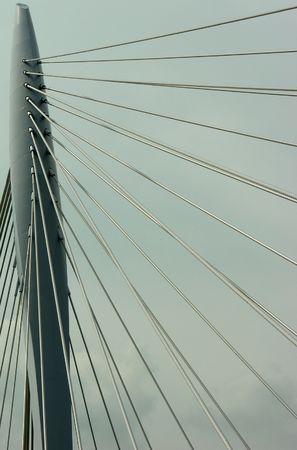Detail of a suspension bridge Stock Photo