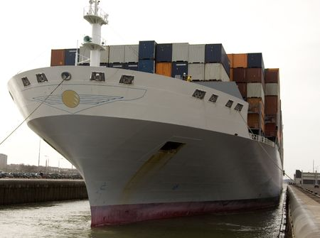 bow of boat: containership