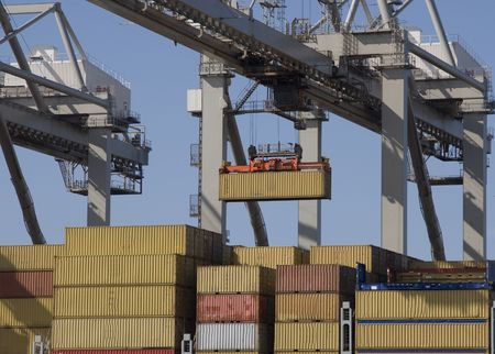 seafreight: container terminal Stock Photo