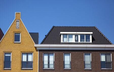 new houses with a blue sky