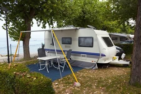 caravan on the camping Reklamní fotografie - 7503286