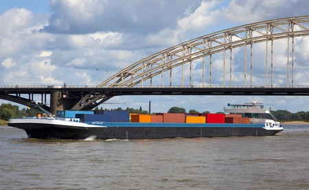 containership: containership on the waal nearby nijmegen