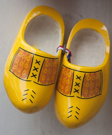 klompen: a pair of dutch wooden shoes