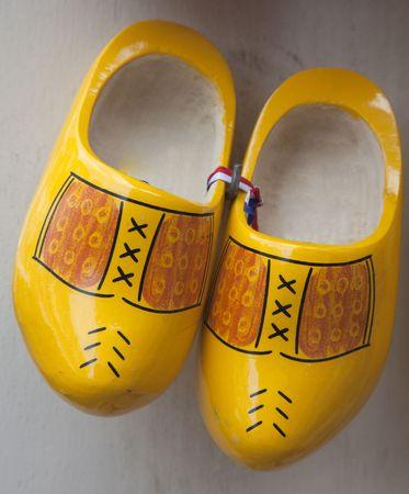klompen: a pair of dutch wooden shoes