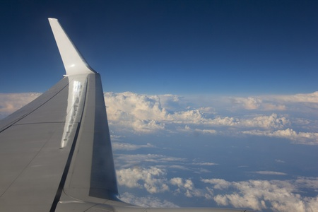 airplane flying high in the sky photo