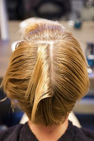 Closeup view during hair dyeing treatment ... Reklamní fotografie - 12043187