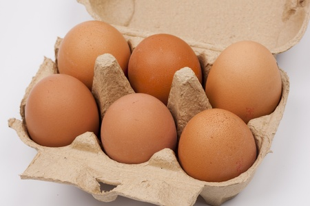 cholesterol free: eggs in a box Stock Photo