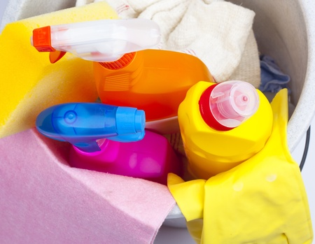 Plastic bucket with cleaning supplies  photo