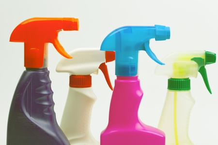 House cleaning product. Plastic bottles with detergent and liquid soap photo