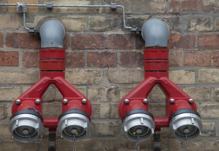 fire hose on a wall  photo