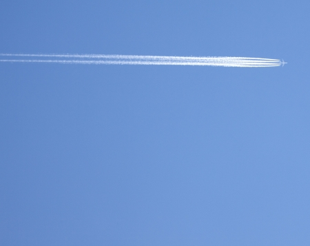 vapor trail from an airplane  Stock Photo