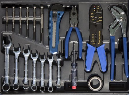 set tools in a box Stock Photo - 14291097