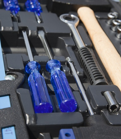 set tools in a box Stock Photo - 14291070
