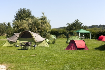 tent on a camping in the summer