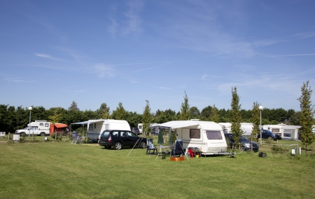 camping with blue sky