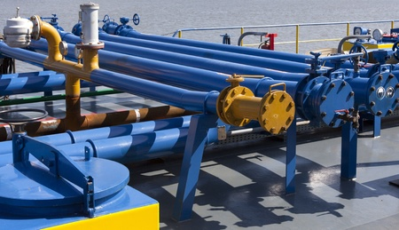 oil pipeline: pipes on the deck of a ship