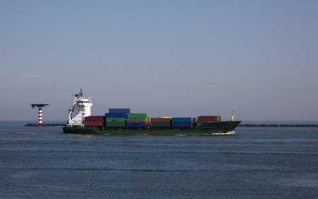 ship nearby the harboue of rotterdam