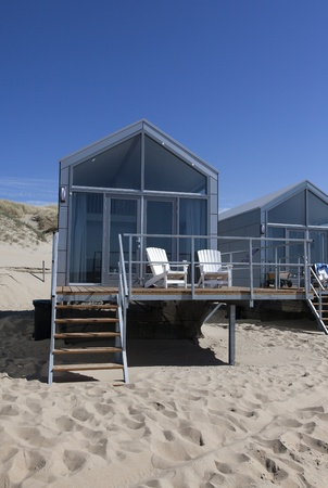 beachhouses on a row on the beach