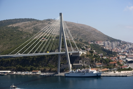 Suspension bridge in the coastal town of Dubrovnik in Croatia  Reklamní fotografie